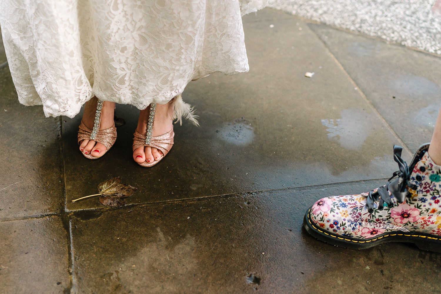 photo of the brides shoes and bridesmaids dr martins