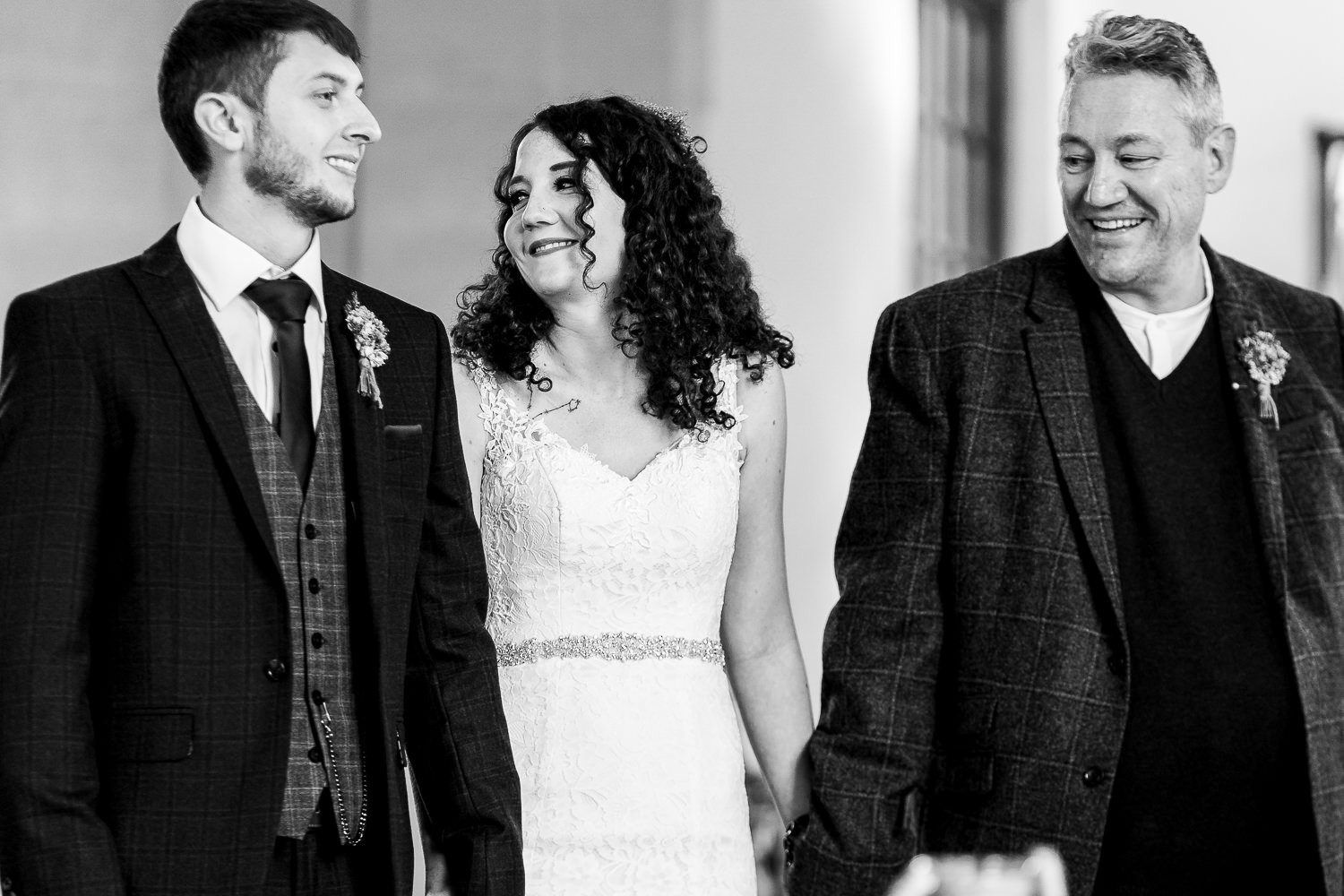 bride smiling with her dad
