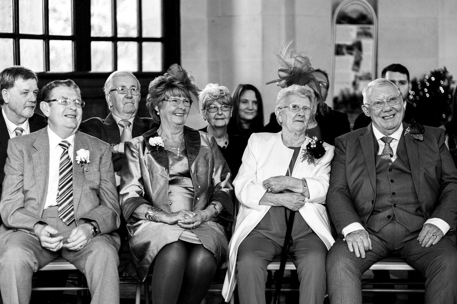 Grandparents laughing during the service