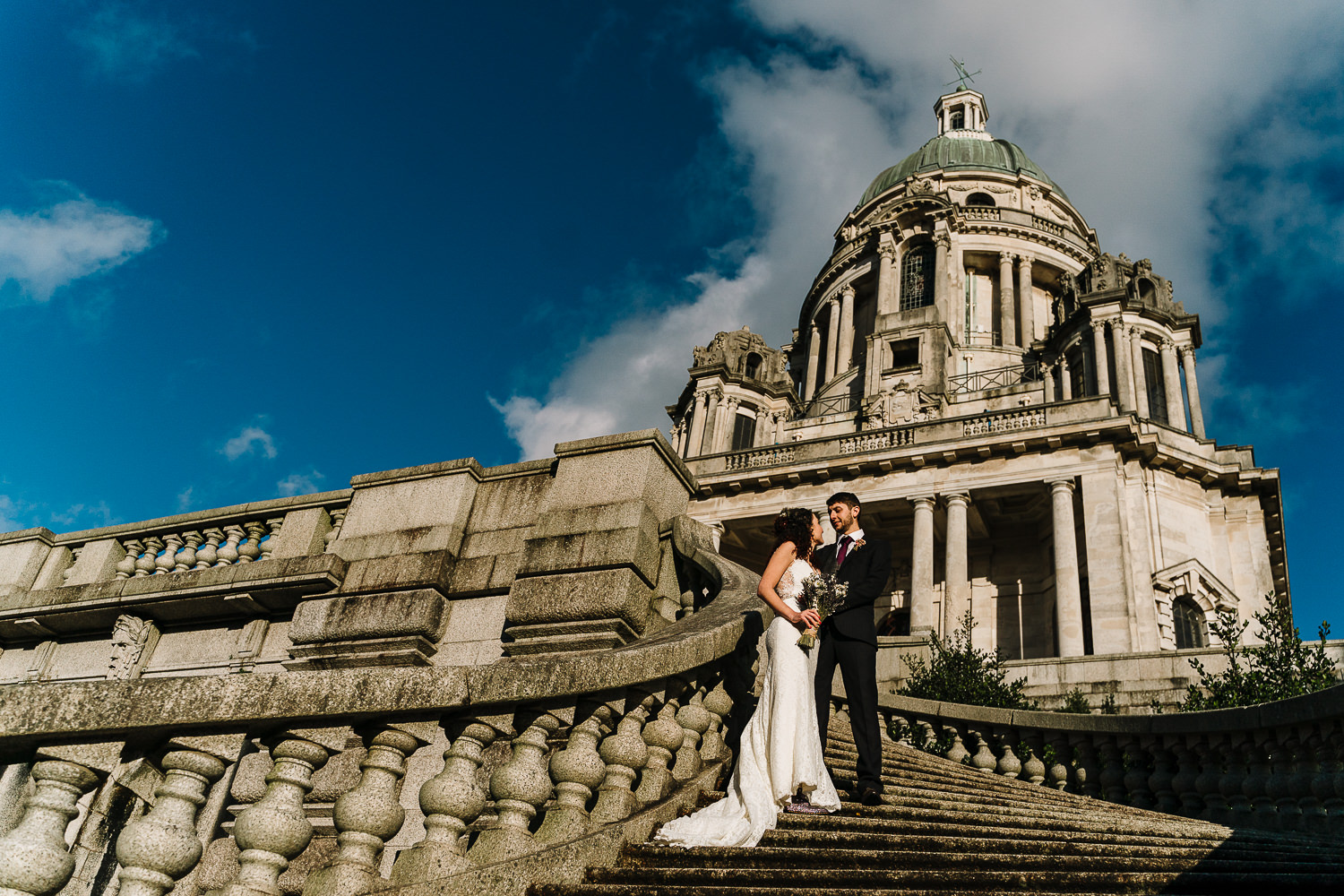 bride and groom portrait at Ashton Memorial