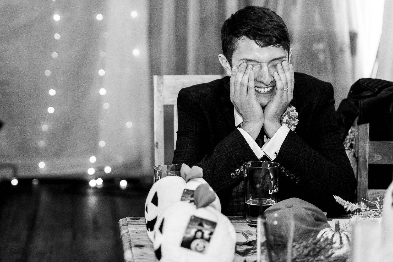 Groom reacting to batsman speech