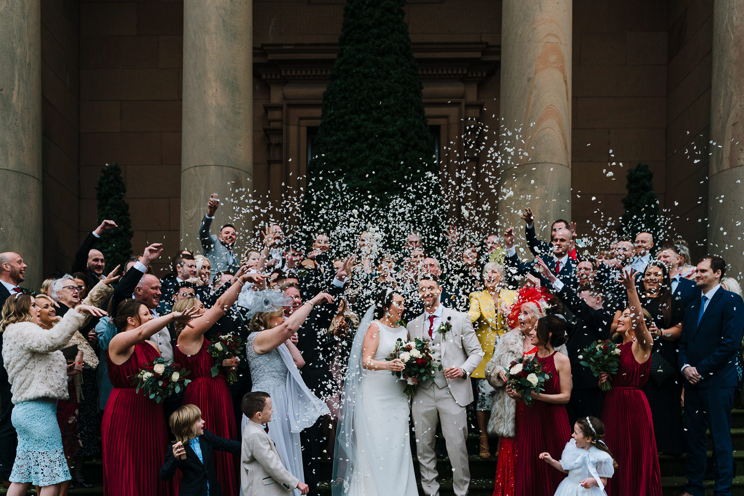 confetti photo outside the courthouse hotel in Knutsford