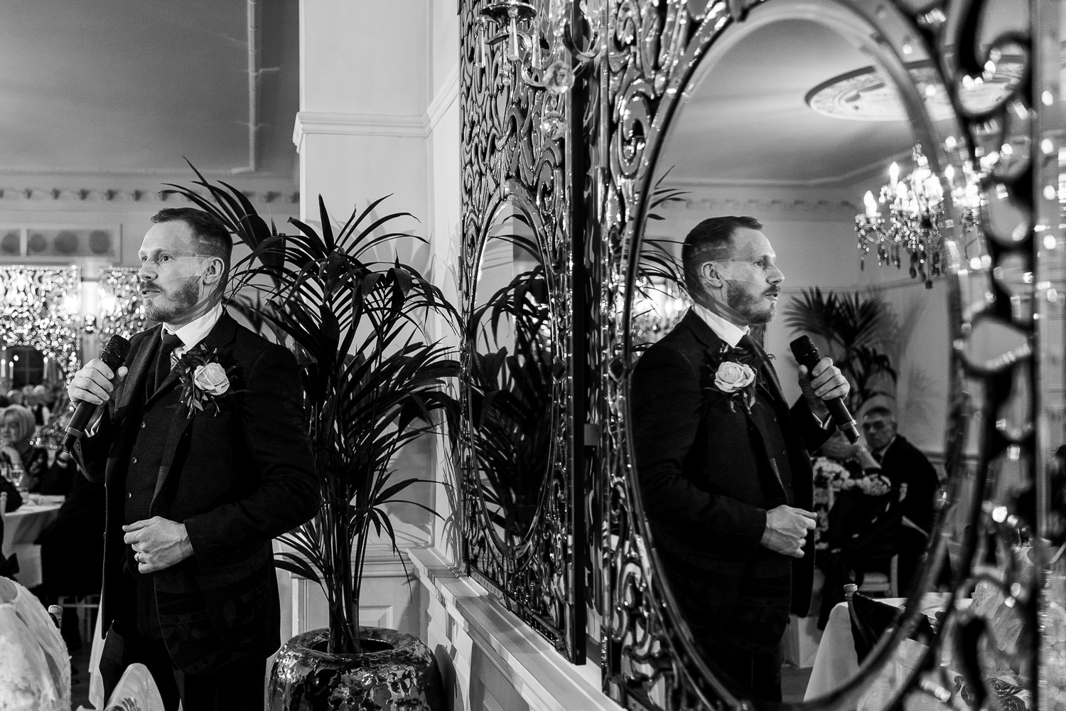 Grooms speech in the mirror