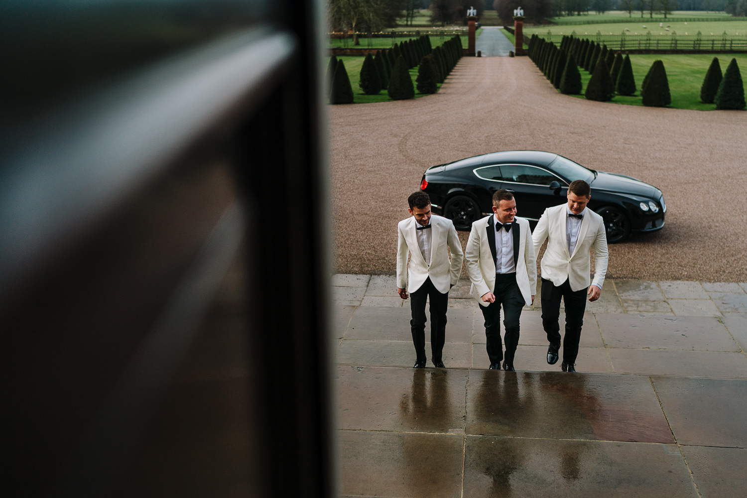 Groom and his two best men arriving at Knowsley Hall
