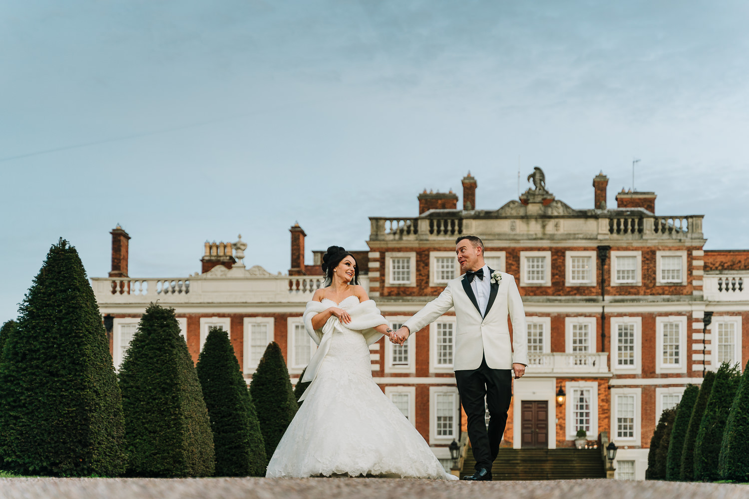 Couples portraits walking at Knowsley Hall