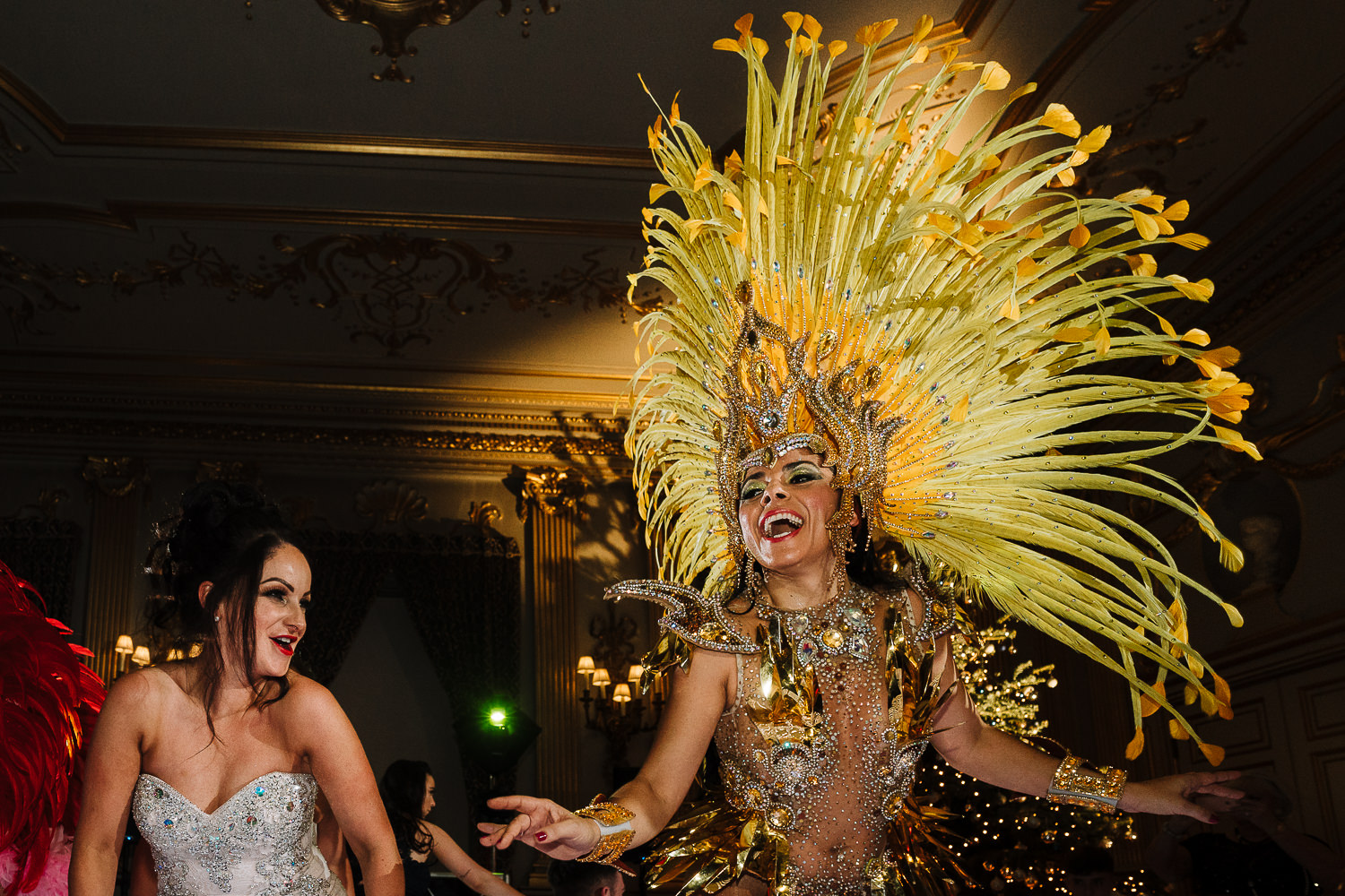 Brazilian dancer and bride at Knowsley Hall