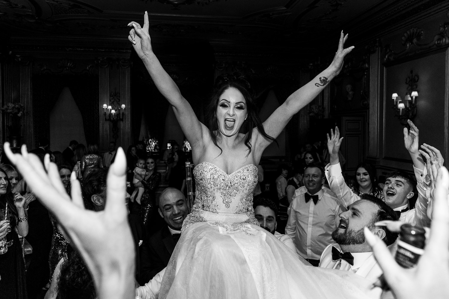 Bride in the air during dancing