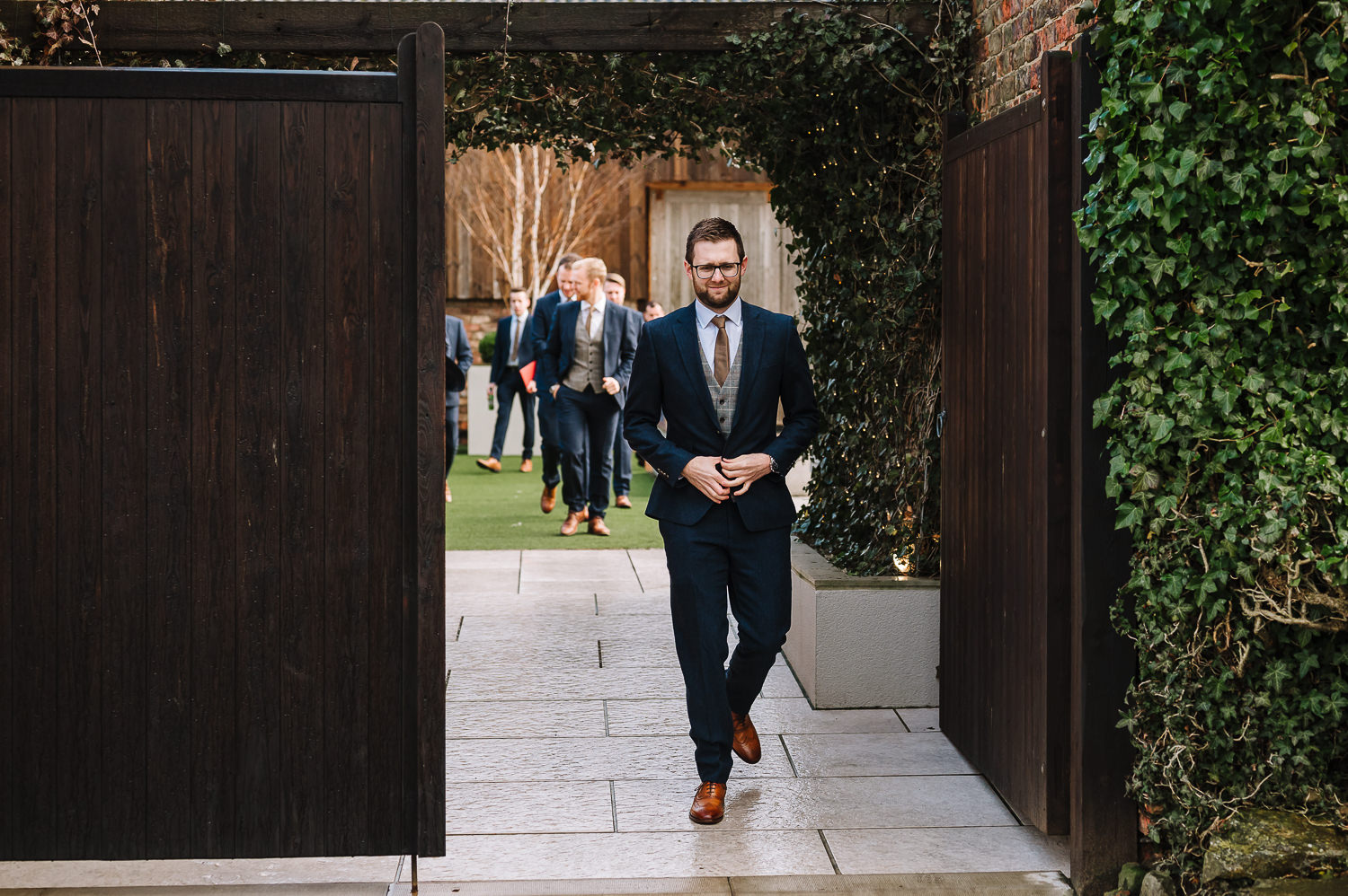 Groom arriving at the normans wedding venue