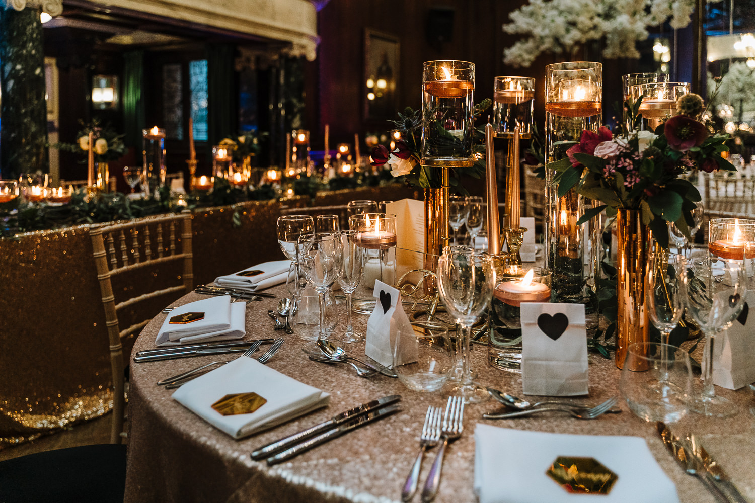 Table decorations at Thornton Manor