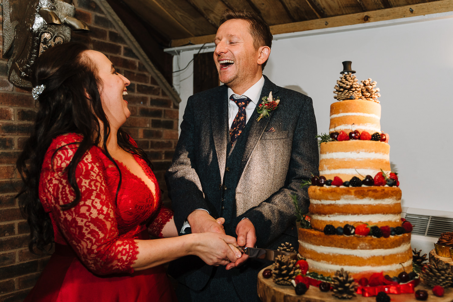 Cake cut at Owen House Barn