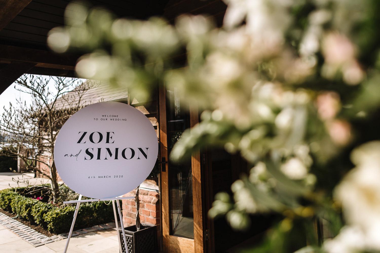 Wedding sign at Sandhole Oak Barn