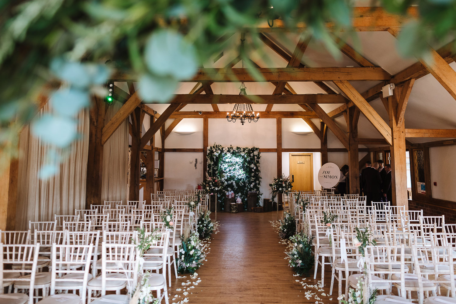A photo of the ceremony room at Sandhole Oak Barn