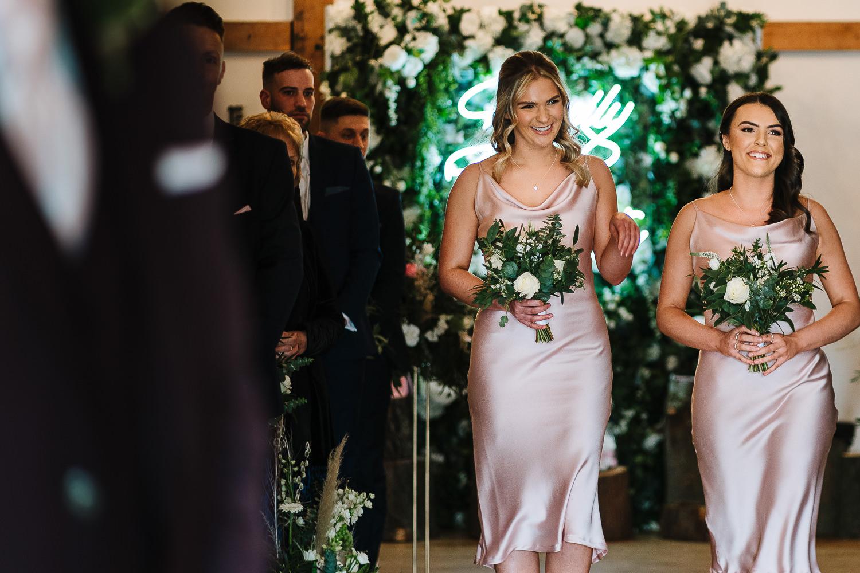 bridesmaids walking in
