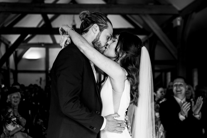 First kiss at Sandhole Oak Barn