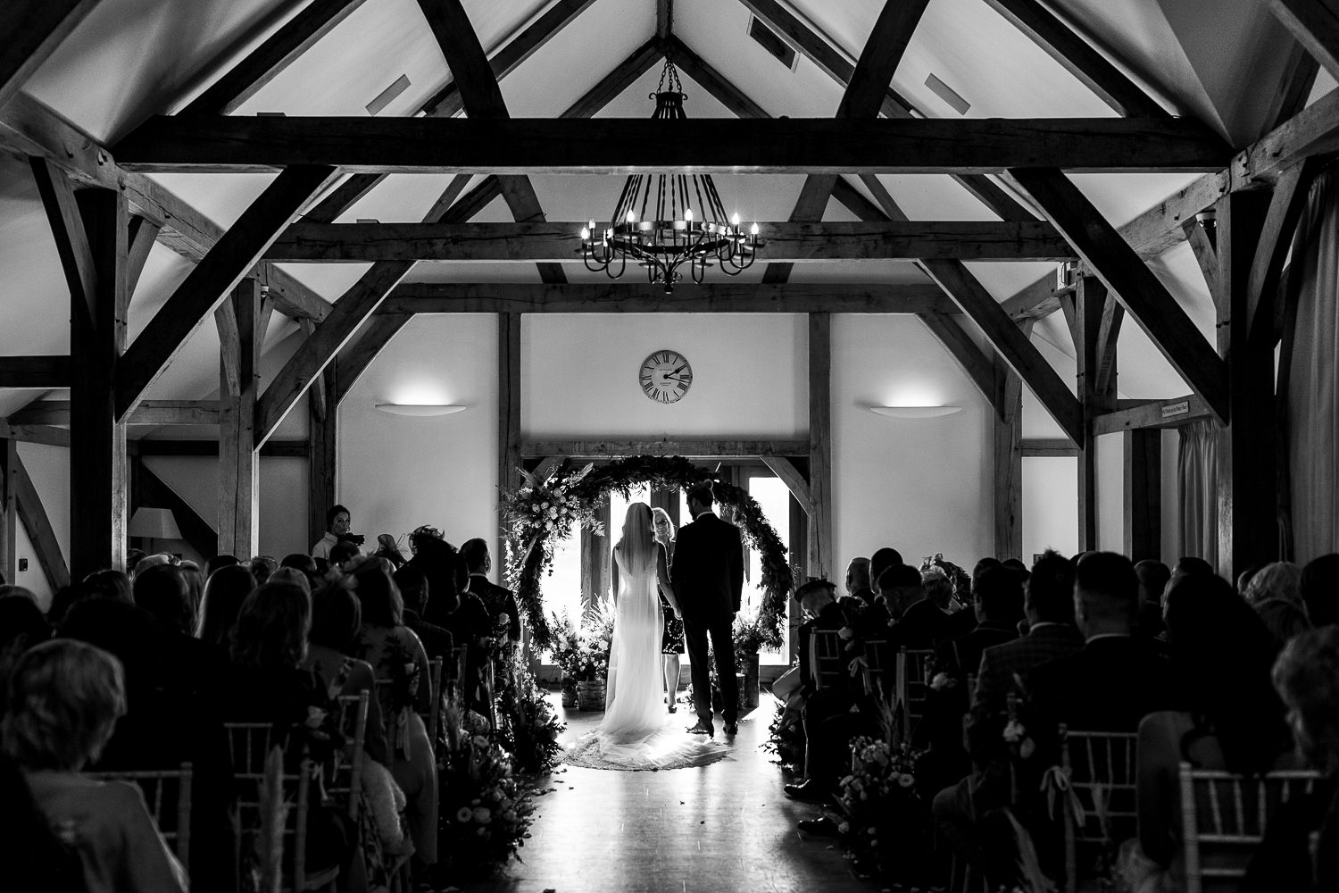 A photo of the bride and groom at Sandhole Oak Barn