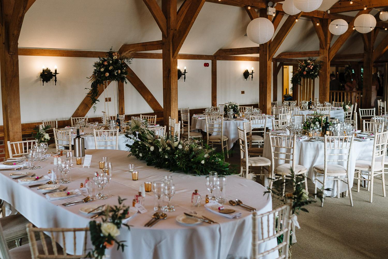photo of the wedding breakfast room at Sandhole Oak Barn