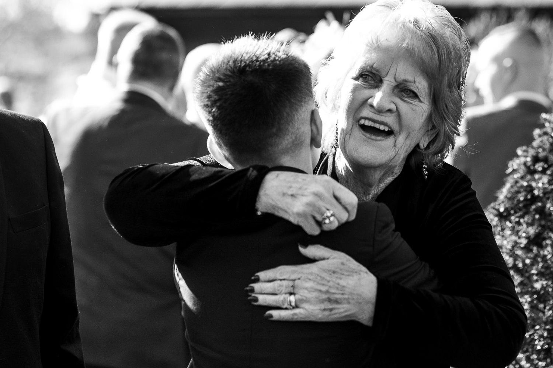Gran hugging the grandson