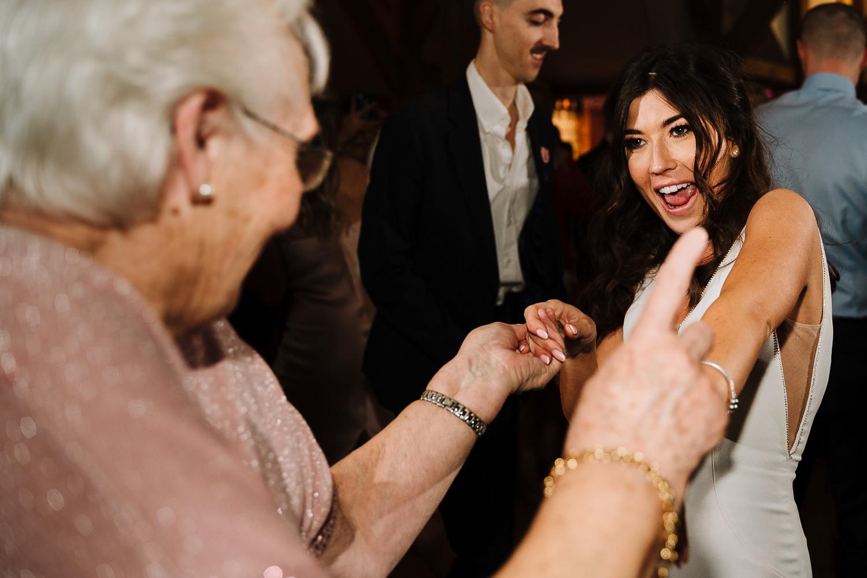 bride dancing with her gran