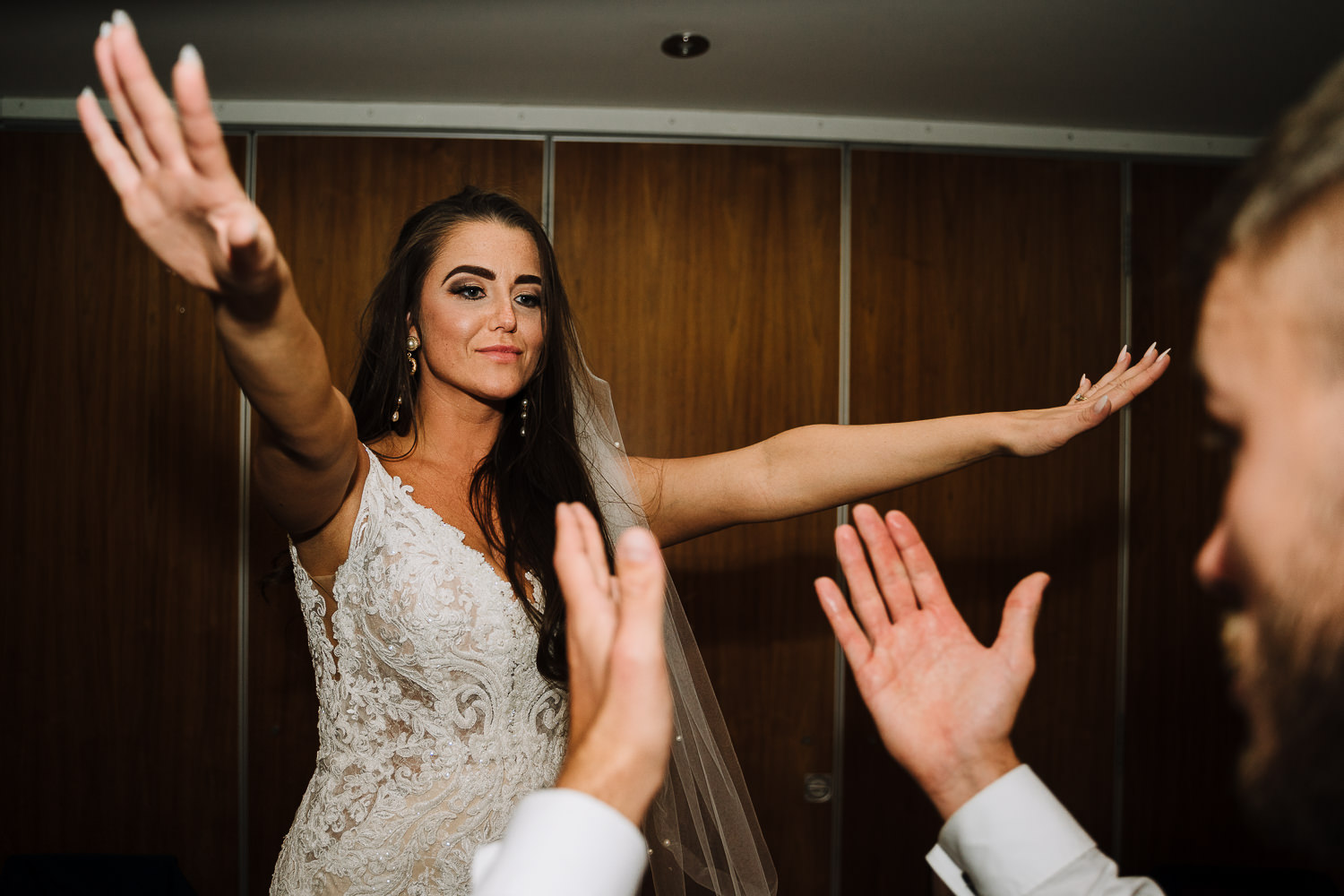 Bride dancing on a table at Gretna Green