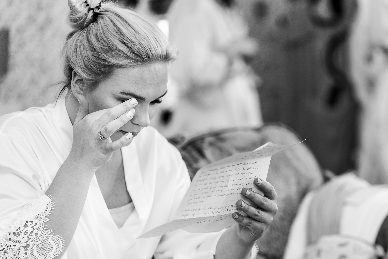 Bride crying at Mottram Hall