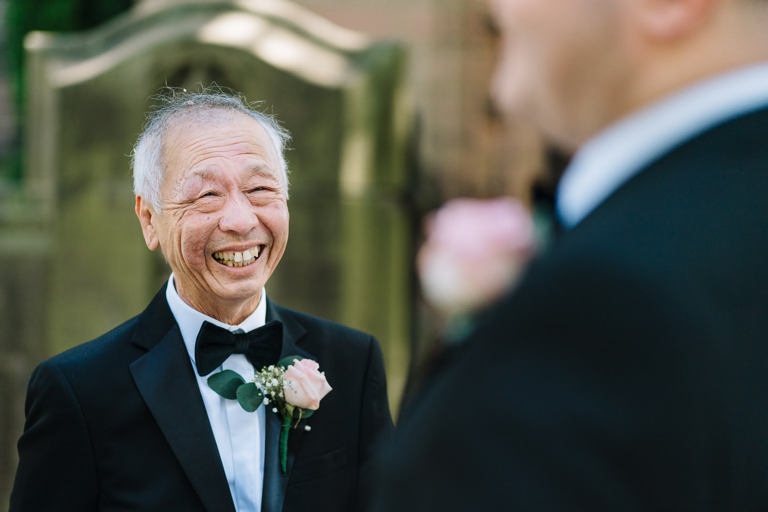 Father of groom at church before going to Mottram Hall