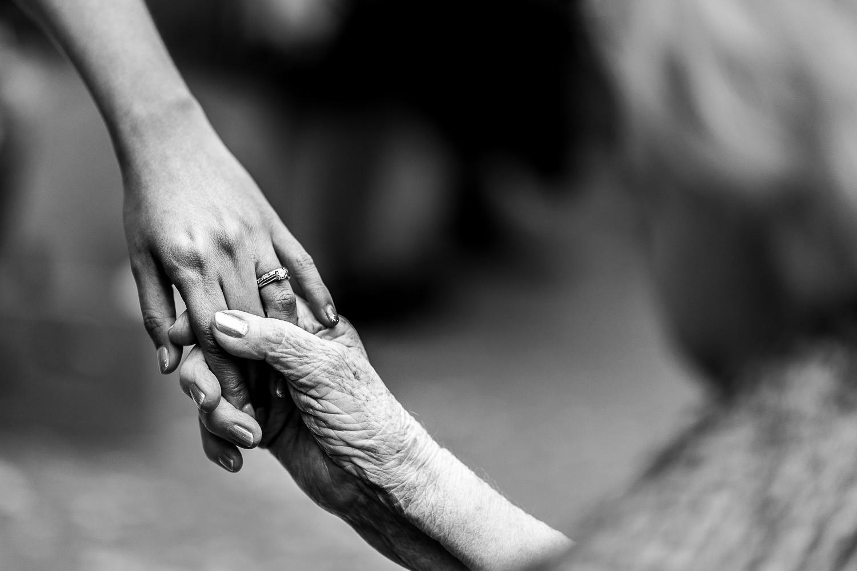 bride and her gran's hands