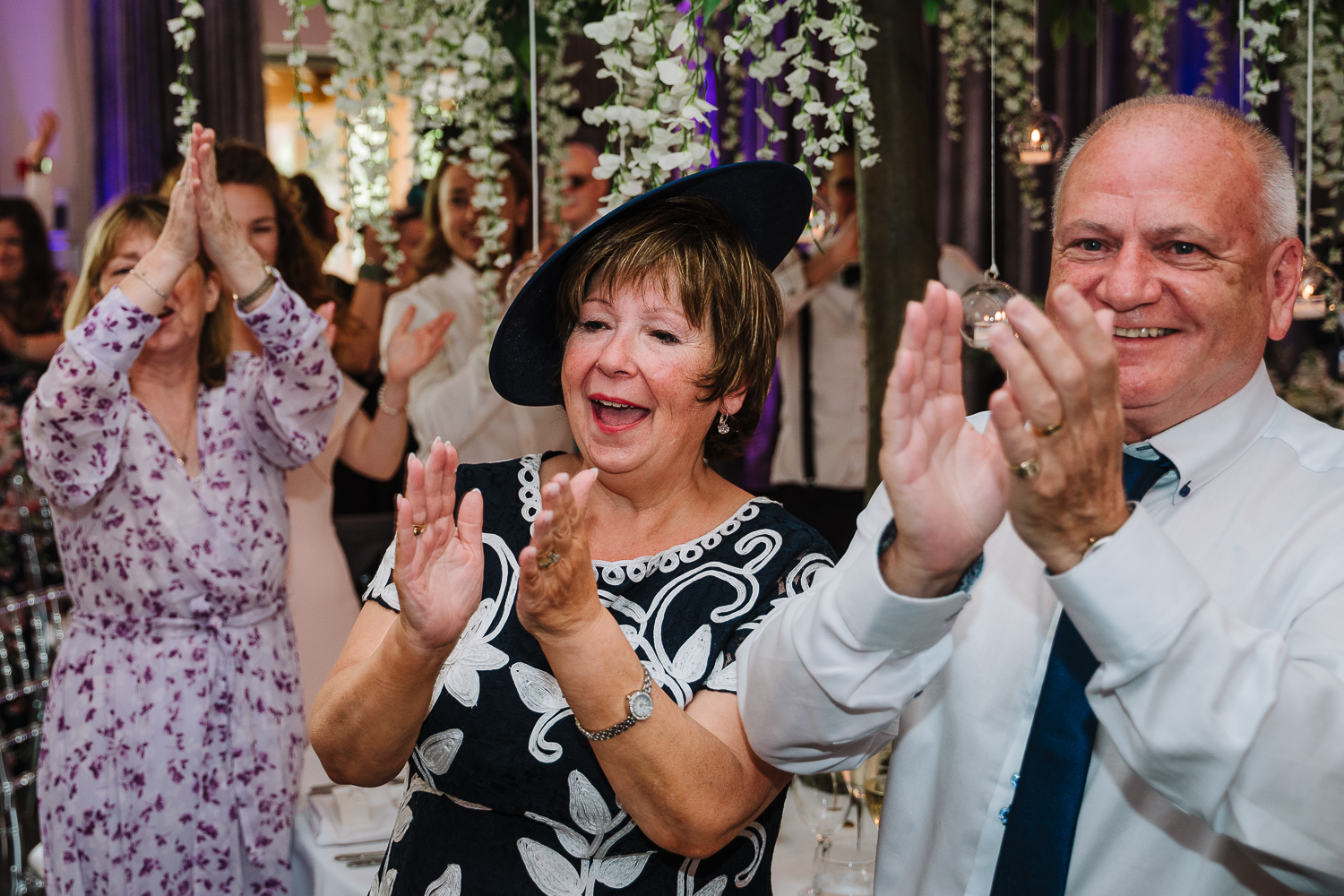 Wedding guests clapping at Merrydale Manor
