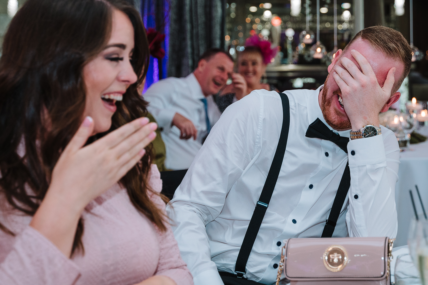 Guests laughing at Merrydale Manor
