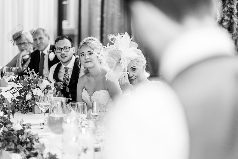 Brides mum crying during speeches