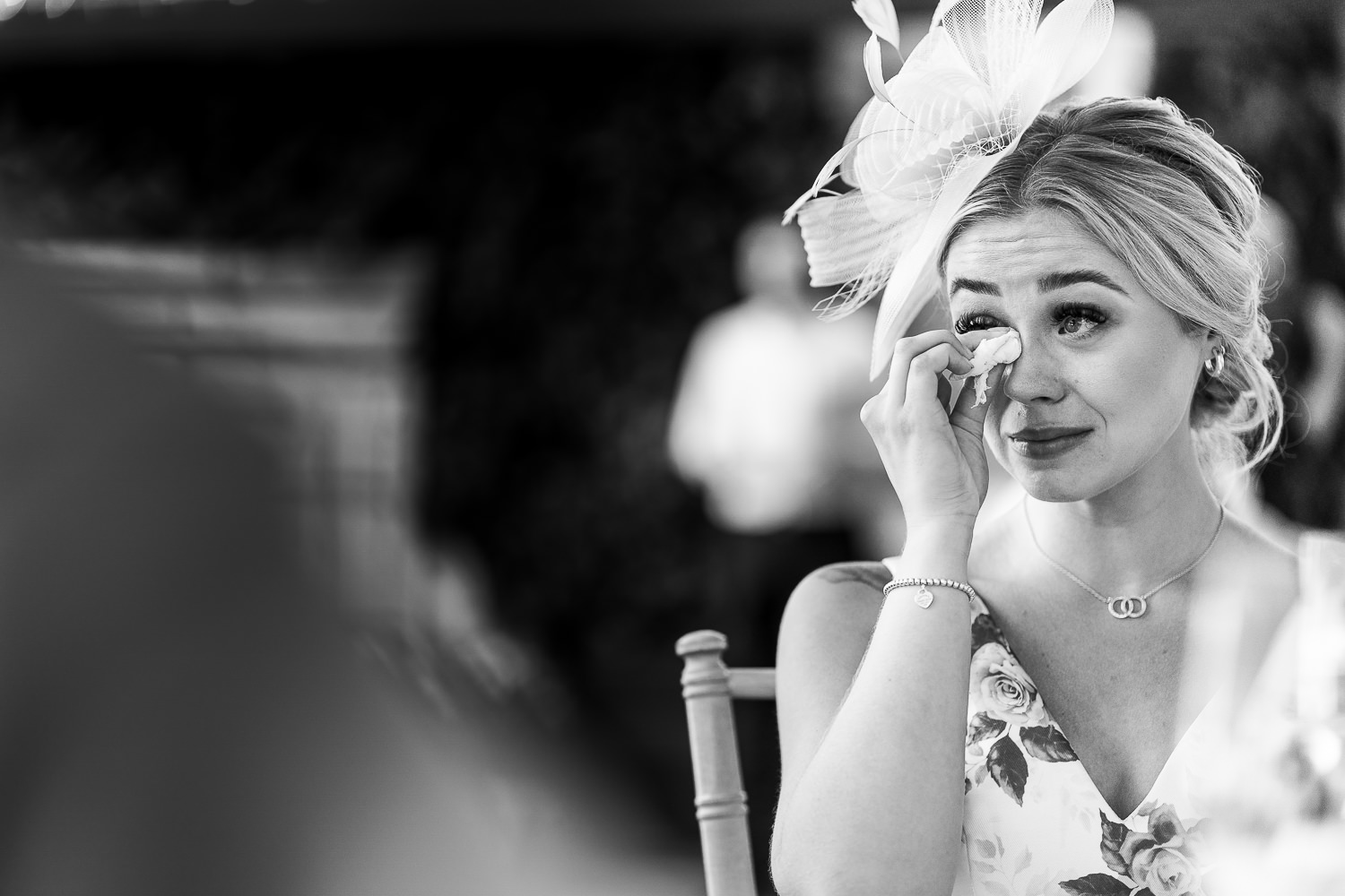Wedding guest crying during speech