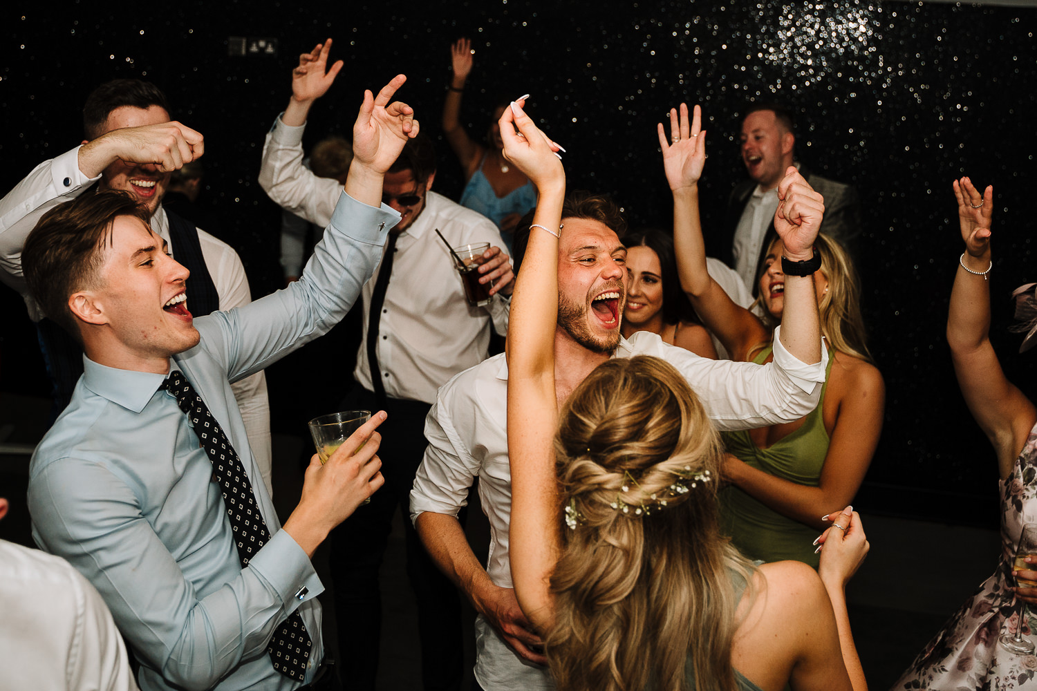 Wedding party dancing at Delamere Manor