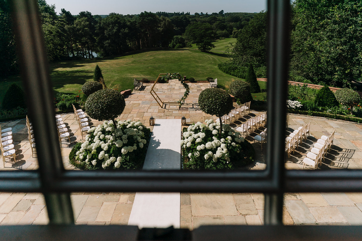 Outdoor ceremony space at Delamere Manor