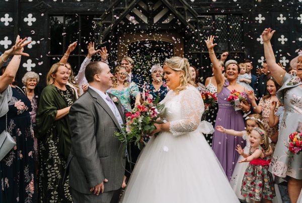 bride and groom confetti photo at Samlesbury Hall