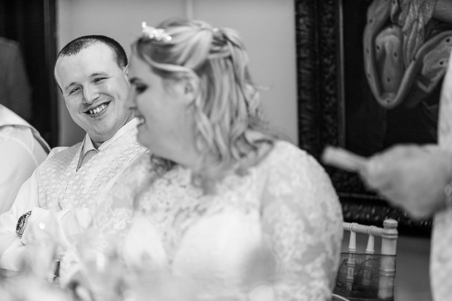 Visually impaired couple laughing
