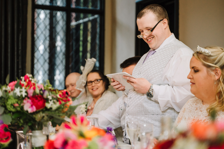 Blind grooms speech at Samlesbury Hall